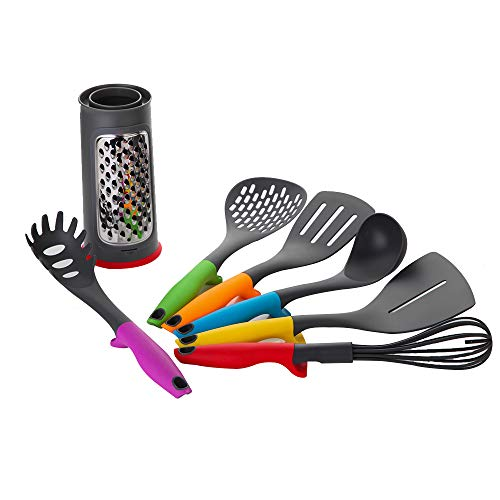 Re Cook Lot de 7 ustensiles de cuisine avec support, ustensiles de cuisine en nylon et silicone, ustensiles de cuisine anti-rayures et support résista