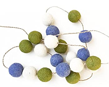 De Kulture Felt Pom Pom Garlands Set of 2  Green Indigo Blue and Off White