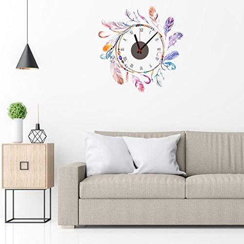 Funnyfeng wandklok met veren om op te hangen, met muurstickers, decoratie, strikdesign, stil, ins-veren, kleur wandklok voor huis woonkamer slaapkamer intensief