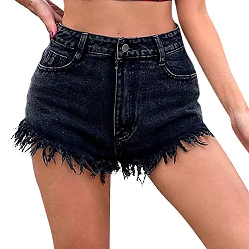 Routinfly Damen Jeans Mittlere Taille Gerade Kurze Hosen mit Taschenloch,Casual elastische Jeanshose,Casual Hose,High Waist Stretch Schlank Jeanshose,Denim Jeans Loose Vintage Hose