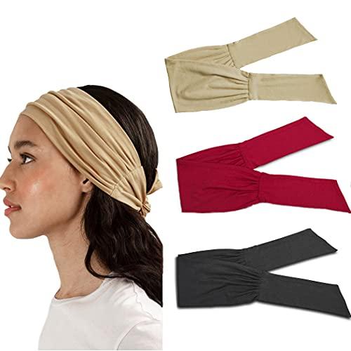 Yean Diadema ancha para yoga, elástica, color rojo, para la cabeza ajustable, para mujeres y niñas (paquete de 3)