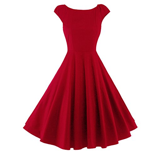 Women's 1950s Hepburn Style Cap Sleeves Solid Rockabilly Cocktail Skater Swing Dress(Red-S)