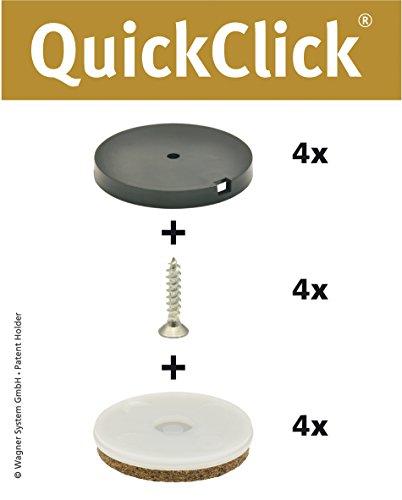 WAGNER QuickClick® Stuhlgleiter I 4er-Set zum Anschrauben I 4x Basis + 4x Schraube + 4x Gleiteinsatz I - ULTRASOFT - Durchmesser Ø 50 mm - Made in Germany - 15808800