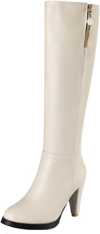 TAOFFEN Women Fashion High Heels Long Boots Zipper