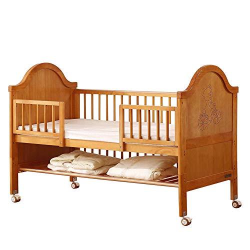 WDXIN Lit Bebe Multifonctionnel en Bois Massif Lit d'épissage Style européen Matériaux de sécurité et de Protection de l'environnement Convient aux bébés de 0 à 8 Ans,A