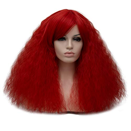 ELIM Fluffy Short Curly Wigs Red Cosplay Wig Halloween Costume Wigs Synthetic Hair Oblique Bangs for Women with Wig Cap Z079-G