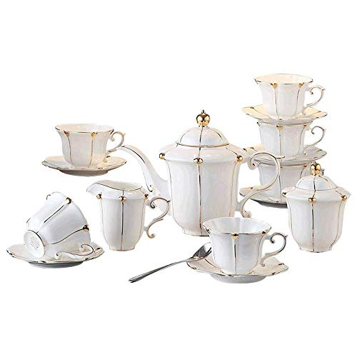 Porseleinen theeservies Reeks van de Koffie, thee kop en schotel Set, met Theepot Sugar Bowl Cream Pitcher theelepels en theezeefje for koffie/thee