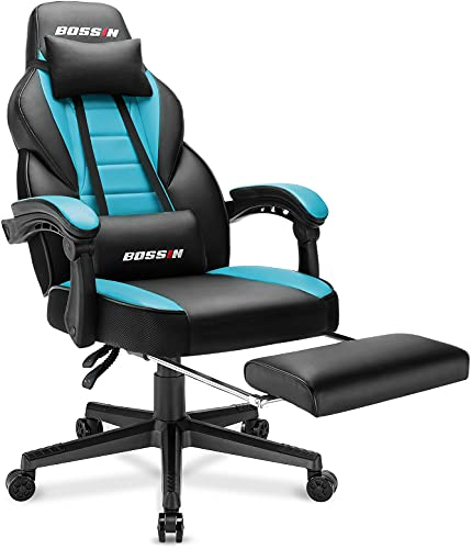 BOSSIN Racing Style Gaming Chair, 400LBS Computer Gamer Chair with Footrest and Headrest, Ergonomic Heavy Duty Design, Large Size High-Back E-Sports PU Leather, Big and Tall Chair (Tiffany Blue)