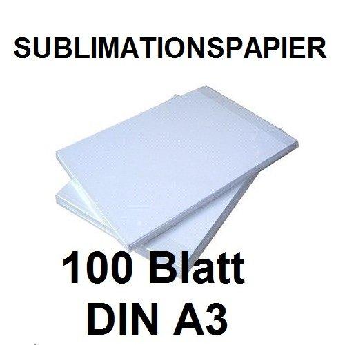 100 BLATT SUBLIMATIONSPAPIER/THERMO-TRANSFERPAPIER DIN A3 für Shirts, Caps, Tassen, Mousepads. Hervorragende Übertragungsqualität, Farbannahme und Farbsättigung, schnell trocknend, wischfest