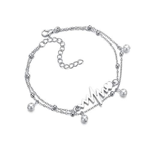 wpaacb Silber fußkette 925 Damen fußkette Silber Symbol Fußkette Unendlichkeit Fußkette Perlen Knöchel Armband Sandale Fußkette Titan Stahl Fußkette