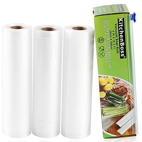 KitchenBoss Bolsas de Vacio Profesional 3 Rolls 20x500cm con Caja de Corte (No Más Tijeras) para Almacenaje de Alimentos, Sous Vide Cocina, BPA Free