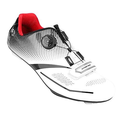 Alomejor 1 Paar Mode Radfahren Schuhe Anti-Skid SPD Lock System Radfahren Schuhe Atmungsaktiv Rennrad Schuhe Männer Erwachsene(44-Weiß)