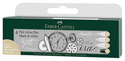 Faber-Castell 167151 - Penna Pitt Artist Pen Black and White, set da 4 pezzi