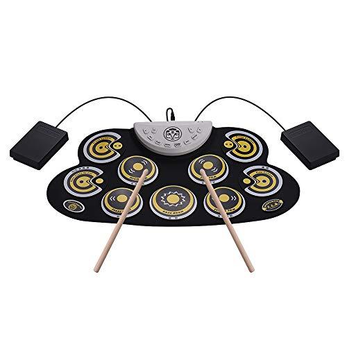 Muslady Pad Drum in silicone Portatile Elettronico Roll Up Digitale Drum Set con Bacchette Pedali Disegno del fumetto per bambini principianti