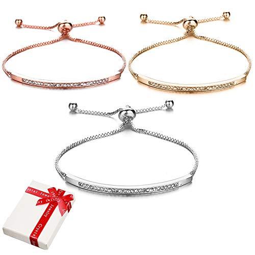 Juego de 3 pulseras de cristal de amistad para mujeres y niñas, pulseras ajustables, pulsera de amor para mujer, regalo para pareja, mamá, mejor amiga, navidad, día de la madre, cumpleaños