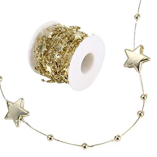 Rotolo di perle perline Catena di perline in ABS Stella a cinque punte Corda decorativa Decorazione della casa per matrimoni fai-da-te, 10 metri/rotolo(d'oro)