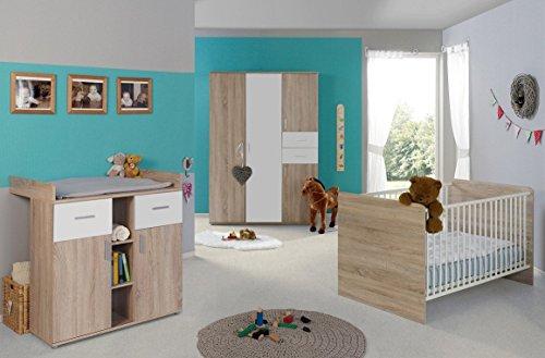 Babyzimmer Komplettset/Kinderzimmer komplett Set ELISA verschiedene Varianten in Eiche Sonoma/Weiß (ELISA 3)