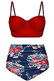 Angerella Damen Vintage Hoher Taille Badeanzüge Bikini Set für Teenager,Medium
