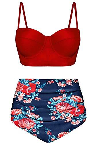 Angerella Damen Vintage Hoher Taille Badeanzüge Bikini Set für Teenager,5X-Large