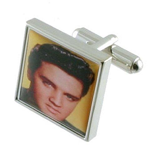 Select Gifts Elvis Musik Manschettenknöpfe für Herren Manschettenknöpfe Sterling Silber 925massiv + personalisierte Gravur Box