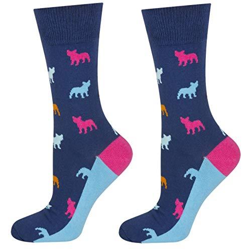 soxo Bunt Gemusterte Herren Socken | Lustige Motivsocken aus Baumwolle | Größe 40-45 (Buldogge_1)