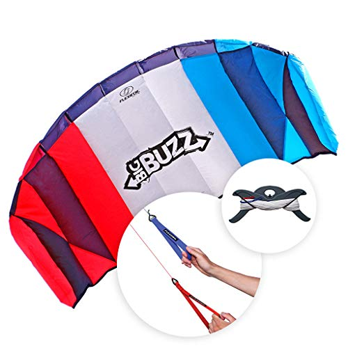 FLEXIFOIL Power Kite | Big Buzz Stunt Kite | 2.05m Dual Lines Trainer Parafoil | Kids & Adults Kiting | Best 2 Line Beach Summer Sport Trick Kites with Handles | Outside Activity | Easy to Fly 1.6m²