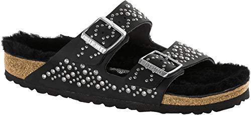 Birkenstock, Arizona BS, Leather, Zapatos, Sandalias, Sabot, tachuelas, piel nubuk Negro Size:...