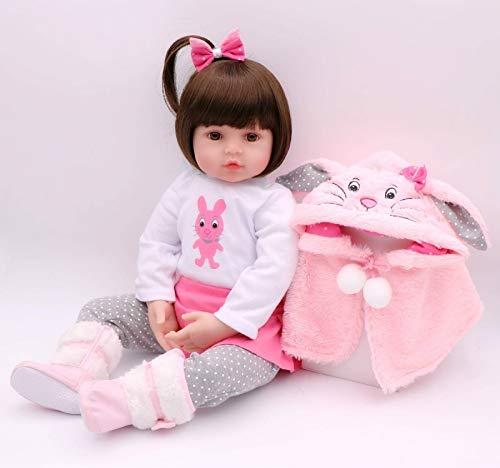 Pinky Reborn Muñecas 18Inch 45cm Reborn Baby Doll Realista Silicona Suave Vinilo Bebe Reborn Girl Dolls Simulación Juguetes para niños pequeños Regalos de cumpleaños (18Inch)