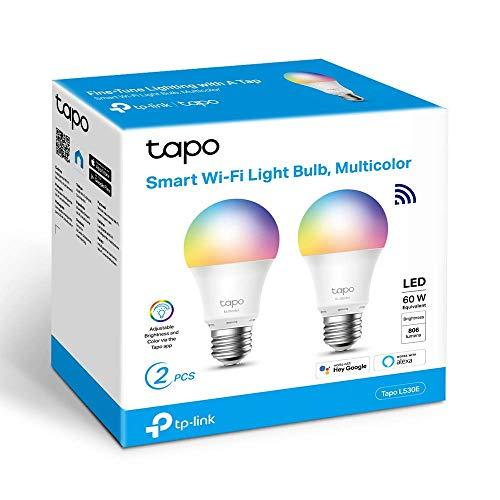 TP-Link 【Nuevo】 Bombilla LED Inteligente, Bombilla WiFi, Multicolor, Regulable, E27, 8.7W 806lm, Compatible Alexa, Echo y Google Home, [Clase de eficiencia energética A+] Tapo L530E(2-Pack)