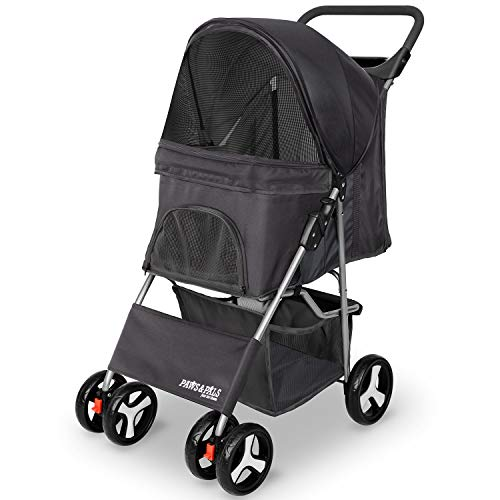 Pet Stroller Cat/Dog Easy to Walk Folding Travel Carrier Carriage, Onyx Black