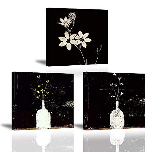 Piy Painting Bilder Leinwandbild Fotoleinwand Blumen in Vasenflaschen Kunstdrucke auf Leinwand Elegante Blumen Malerei Home Deko für Wohnzimmer Schlafzimmer Flur Wand Weihnachten 30x30cm 3set