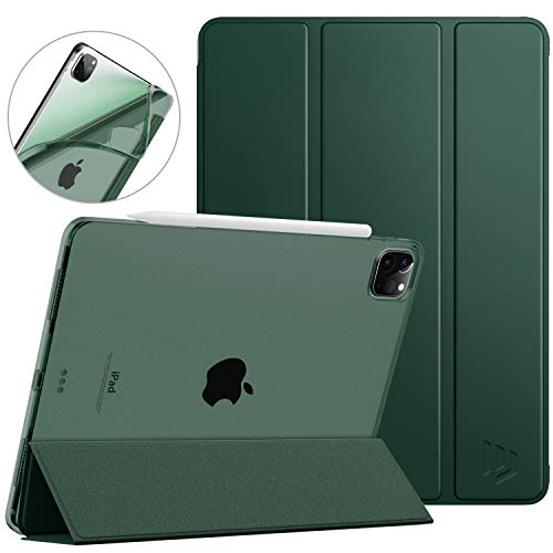 Dadanism Slim Case for iPad Pro 11' 2020 2nd Generation, Flexible TPU Translucent Frosted Back Smart Stand Protective Cover, Auto Sleep/Wake [Support Apple Pencil Pair/Charging] - Midnight Green