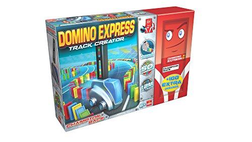 Goliath 81012 - Domino Express Track Creator und 100 Dominos, Domino-Set für Ihren eigenen Domino Day, Aufbaufahrzeug mit Dominosteinen, ab 6 Jahren