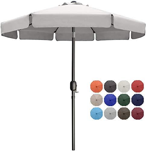 MasterCanopy 270cm Sonnenschirm Fe-Al Market Tischschirm im Freien mit 8 stabilen Rippen,grau