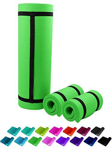 NEU Fitnessmatte Grün Green Fitness Gymnastik Sport Turnen Pilates 1,5 cm dick sehr weich 183 x 61 Trageband rutschfest Sportmatte Yogamatte Gymnastikmatte Trainingsmatte Unterlage Turnmatte ReFit