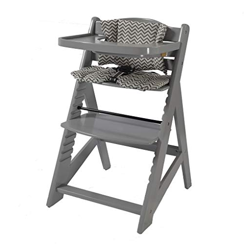 Tiggo Hochstuhl mitwachsend, Treppenhochstuhl, aus massivem Buchenholz, Kinderhochstuhl ab 6 Monaten bis 10 Jahre 6551-GRAU