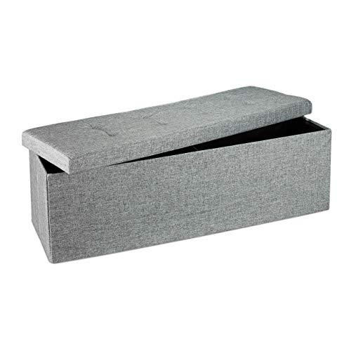 Relaxdays Faltbare Sitzbank XL HBT 38 x 114 x 38 cm stabiler Sitzcube mit praktischer Fußablage als Sitzwürfel aus Leinen als Aufbewahrungsbox mit Stauraum und Deckel zum Abnehmen für Wohnraum, grau