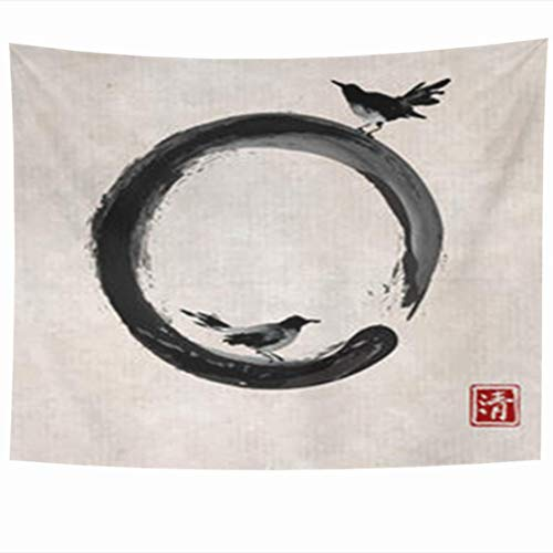 Alfreen Arazzo a Muro, Wall Hanging Tapestries 80 x 60 Inches Two Black Birds Enso Zen Circle Vintage Traditional Oriental Ink Sumi sin Go Hua Decor Tapestry for Home Bedroom Living Room Dorm