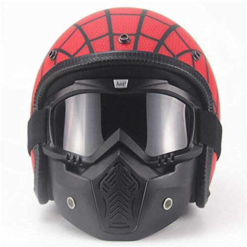 Casco Outdoor Four Seasons Retro Harley Casco Ragnatela di personalità del Casco del motorino Elettrico 3/4 Grande Tartaruga re Casco Mezzo Uomo Sport Casco della Bici
