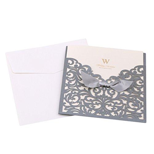 SEVENHOPE 25 Stück Silber Hochzeit EinladungsKarten Geburtstag Taufe Party Glückwunsch Einladung Karten Elegant Band Spitzenschnitt Design mit Umschläge