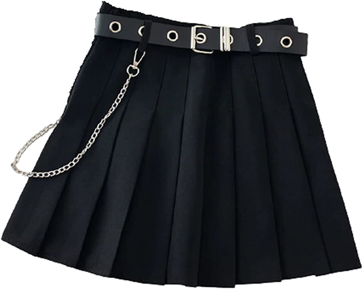 ORRETUS Black Skirt Pleated Over item handling ☆ with Chain-Belt Rock Girl Free shipping Punk
