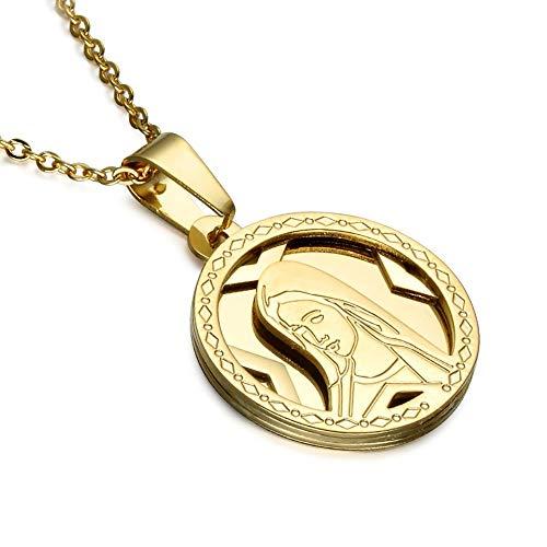 BOBIJOO Jewelry - Colgante Redondo de la Medalla de la Virgen María de Acero Dorado Acabado en Oro para Las Mujeres + de la Cadena de 55cm