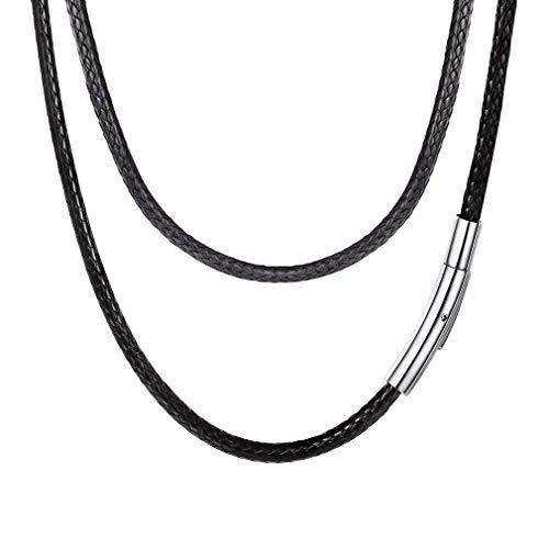 FOCALOOK 50cm チョーカー メンズ 黒 首輪 紐 ネックレス シンプル 人気 ひも 編み込み 幅3mm ブラック パンク アクセサリー