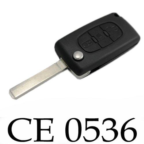 Jongo - Coque de Clé avec Lame Compatible avec Citroën C4, C4 Picasso, C4 Grand Picasso | CE0536 | Boitier Clef Plip Voiture Télécommande 3 Boutons