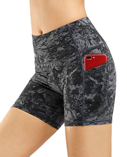 THE GYM PEOPLE High Waist Yoga Shorts for Women Tummy Control Fitness Athletic Workout Running Shorts with Deep Pockets (Large, Gray-Marble)