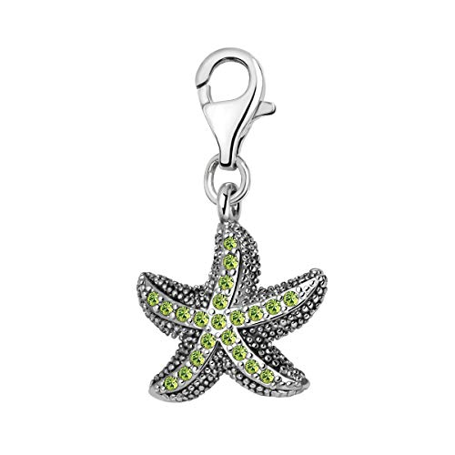 Quiges 3D Starfish Clip On Charm Pendant with Cubic Zirconia Silver Plated Women's Jewellery