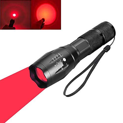 Linterna LED de luz roja, linternas de caza tácticas rojas Antorchas de señal Zoom ajustable Enfoque 1 Modo para visión nocturna Astronomía Pesca Aviación