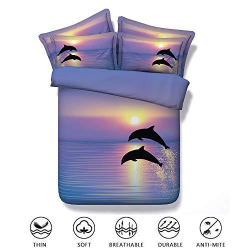 Fansu Duvet Cover Set Bedding Set 3 Piece 3D Pinted Dolphin Boys Girls Single Double Super king Size, Effect with Pillow Cases Zipper Quilt Case Soft Non Lron Kids Childrens (150x200cm,Purple)