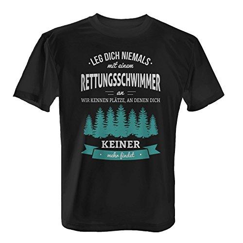Fashionalarm Herren T-Shirt - Leg Dich Niemals mit einem Rettungsschwimmer an   Fun Shirt mit Spruch als Geschenk Idee Wasser Retter Beruf Job Arbeit, Farbe:schwarz;Größe:XL