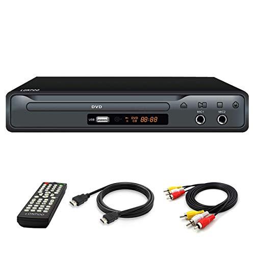 Reproductor de DVD para TV, Reproductor de DVD CD con Salida HDMI y AV (Cable HDMI y AV Incluido), Puerto Scart, Puerto Mic, Entrada USB, Diseño de Caja de Metal